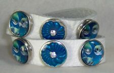 CLASSIC SNAPS SOFT WHITE LEATHER SNAP BRACELET W/SIX SNAPS TURQUOISE & DOLPHINS