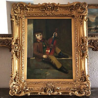 Antique Style Oil Painting Portrait of Young Boy with Violin O/C Signed Framed