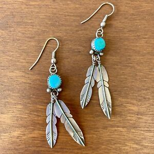 Sterling Silver Southwestern Turquoise Drop Style Feather Earrings   .925