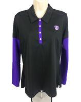 Adidas Golf Polo Women's Long Sleeve 100% Polyester Black/Purple Size Medium