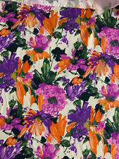 4 Metres Large Cream & Purple Flowers Floral Printed 100% Cotton Poplin Fabric