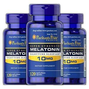 Puritan's Pride Melatonin 10 mg Sleep aid Insomnia Relax Sleep Pill 120 Ct * 3