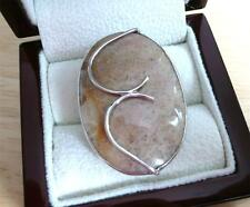 LARGE OVAL BEIGE FOSSIL CORAL 925 STERLING SILVER STATEMENT RING SIZE T US 10