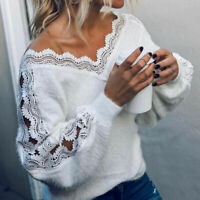 Pullover Jumper Coat Ladies Sweater Long Sleeve Tunic Womens Tops V-neck Lace