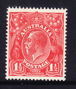 1924-1½d Deep Red KGV Die1. Single wmk,Mint Very light hinged.Well Centred. Ele