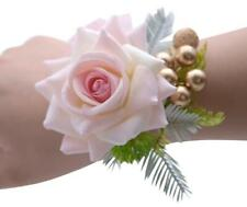 Nude Pink Corsage Wristlet Flower Stretch Band Wedding Prom Wrist Gold Favors