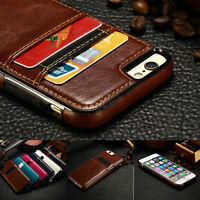 Slim Leather Flip Case Wallet Card Slots Holder Cover For iPhone 6 6S 7 Black