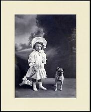 PUG AND LITTLE GIRL WITH PARASOL LOVELY LITTLE DOG PRINT MOUNTED READY TO FRAME