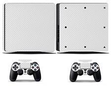 White Carbon Fiber Vinyl Skin Sticker Cover for Sony PS4 Slim PlayStation 4 SLIM