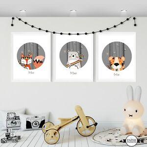 WOODLAND ANIMAL PRINTS,VARIOUS SIZES/Nursery Wall Prints,Boy's Wall Prints