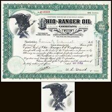Ohio-Ranger Oil Company 1924 Stock Certificate