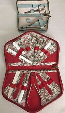VTG ~ 2 LEATHER Manicure sets~Blue GRIFFIN+Red Ground Leather~Made in Austria