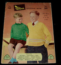 VINTAGE 1950s  PATONS KNITTING BOOK  #509  BOYS TOPS , JUMPERS