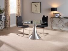 Helena Stylish Modern Round Glass Dining Table & Aluminium Frame Dining Room