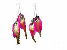 Black, Pink or Blue Long Two Chains Feather Drop Dangle Earrings E388