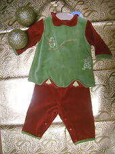 Vestito + pantaloni rosso Natale neonata 9 -  12 mesi Nuovi!!