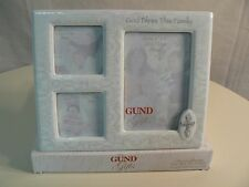 Gund GOD BLESS THIS FAMILY 3 opening Photo Frame White with Silver Accents NEW
