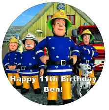 "Fireman Sam Personalised Cake Topper 7.5"" Edible Wafer Paper Birthday Party"