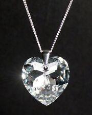Silber 925 Hals-Kette mit Swarovski® Kristall Herz glitzernd Geschenk Schmuck