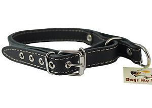 "Adjustable Martingale Genuine Leather Dog Collar 1"" wide 17.5""- 21""neck"