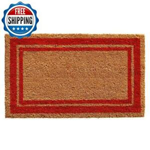 Outdoor Door Entrance Floor 2 x 3 Front Carpet Rug Rectangle Entry Border Red