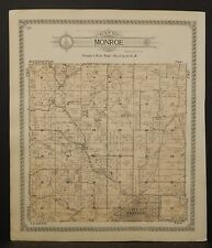 Wisconsin Green County Map Monroe & Clarno Townships 1918 Double Side J23#74