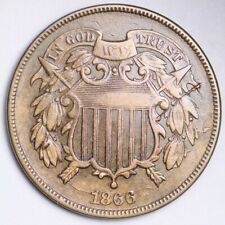 1866 Two Cent Piece CHOICE AU FREE SHIPPING E189 YER