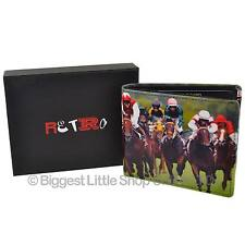 NEW Mens LEATHER Horse Racing Bi-Fold WALLET by Retro Gift Box Grand National