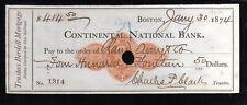 A444 - 1874 CONTINENTAL NATIONAL BANK - BOSTON