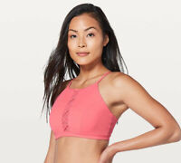 Lululemon Shoreline High Neck Swim Top in Salmon Pink Size 4 Strappy Back Detail