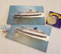 Vtg 1988 LOT Souvenir BLUENOSE Nova Scotia Canada Post Card Coin Pin Boat Fish