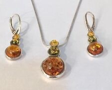 925 AMBER CABOCHON NECKLACE & EARRING SET MODERNIST SERPENTINE ITALIAN CHAIN 18G