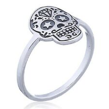 Band Ring 925 Sterling Silver Dainty Star Struck Skull Size 6us 7us 8us 9us
