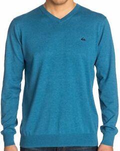 QUIKSILVER Men's Moroccan Blue Kelvin Casual Knit Long Sleeve V-Neck Sweater