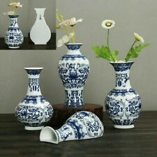 Traditional Ceramic Chinese Blue White Porcelain Plant Flower Antique Vase New