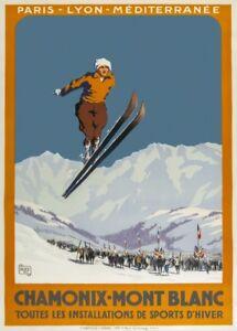 Vintage Ski Posters CHAMONIX MONT-BLANC, France, 1924, Art Deco Travel Print