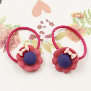 2Pcs/Pair Cartoon Cute Girl Hair Rope Rose Red Flowers Bow Tie Elastic Hairband