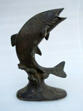 Vintage Old Hand Made Brass Home Decorative Dolphin Fish Figure Statue Sculpture