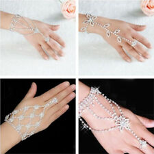 Rhinestones Bracelet Ring Silver Hand Harness Womens Glitter Chain Crystal UK