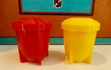 Vintage lot of 2 yellow / red Plastic Space Rocket Pencil / Crayon Sharpeners