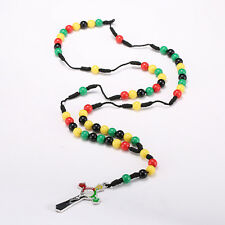 Fashion Christ Religious Women Men Jamaica Color Beads Chain Cross Necklace