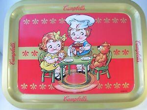 Campbell Kids Campbell Soup Metal TV Tray Teddy Bear Lunch Fleur de Lis Red 1998