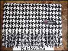 2PLY 100% CASHMERE Long Scarf BLACK WHITE HOUNDSTOOTH Plaid Warm SCOTLAND Wool