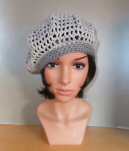 Elegante Ausgefallene Häkelmütze Barett Baskenmütze Hut denim grau hellgrau