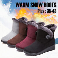 Womens Winter Warm Suede Ankle Snow Boots Slip On Waterproof Warm Cotton Shoes