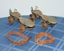 Vintage Antique 1950's Winchester Metal Shoe Roller Skates Pair w Straps & Key