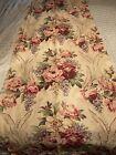 "Vintage Barkcloth Drapes Pinch Pleated 6 Panels Floral  83"" Length"