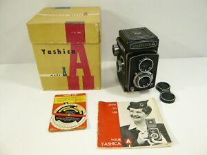 Yashica model A medium format 120 camera, Box and manual