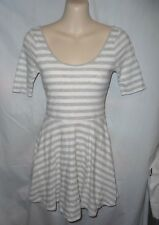 Abercrombie Kids Gray & White striped short sleeve cotton skater dress Girls L
