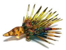 MINIATURE porcupine HAND BLOWN GLASS ART FIGURINE ANIMAL SOUVENIR GIFT